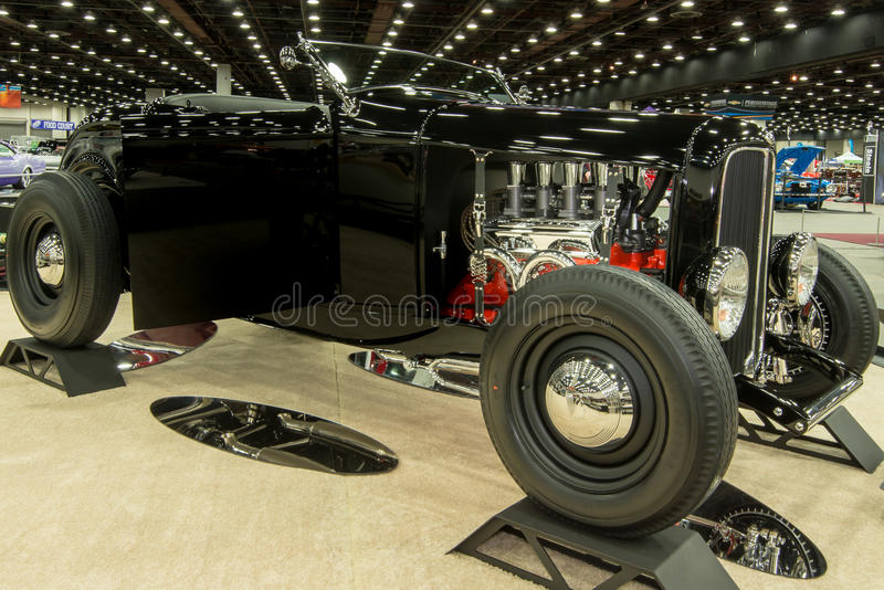 1932 Ford Roadster. DETROIT, MI/USA - FEBRUARY 27, 2016: A 1932 Ford Roadster interpretation, on display at the Detroit Autorama, a showcase of custom and royalty free stock photography