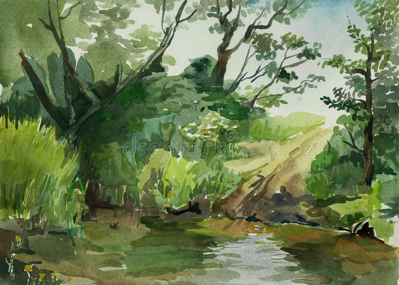 Ford into the stream watercolor art. Country landscape ford into the stream watercolor art stock illustration