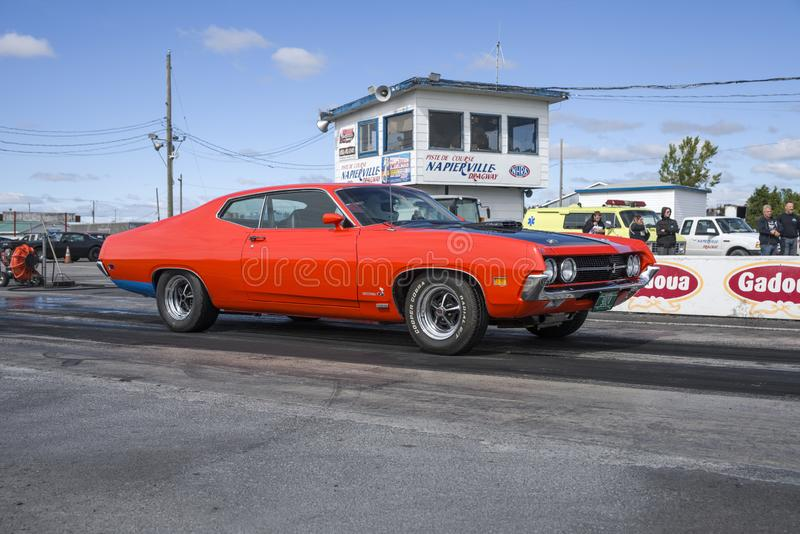 Ford torino on the track. Ford Torino cobra on the track during the vermont cup at napierville dragway september 22, 2018 stock images
