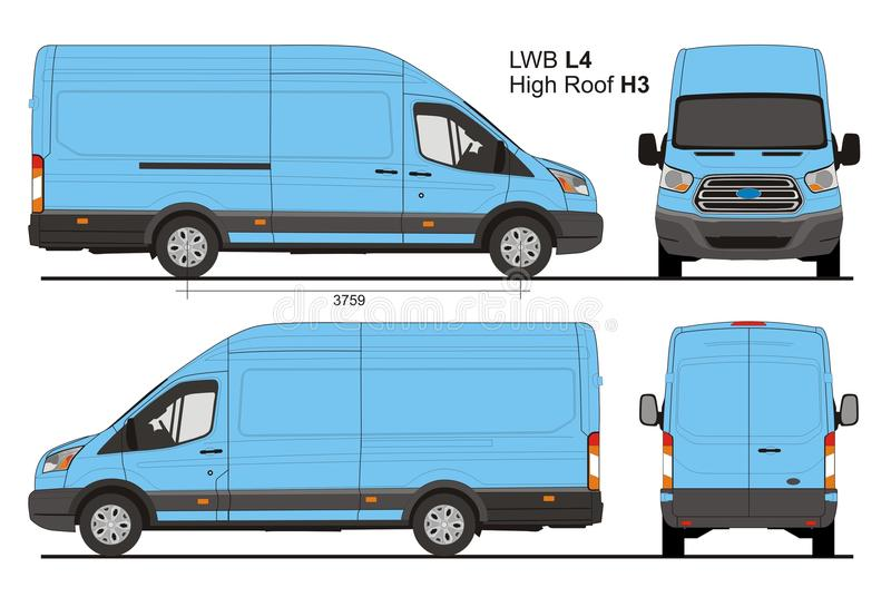 Ford Transit Cargo LWB Highroof L4H3 stock illustratie