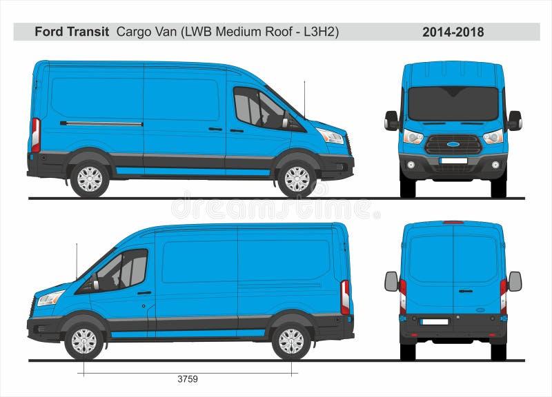Ford Transit Cargo Van LWB medeltak L3H2 2014-2018 vektor illustrationer