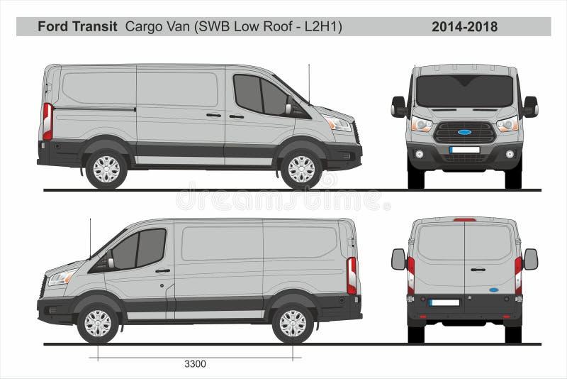 Ford Transit Cargo Van SWB lågt tak L2H1 2014-2018 stock illustrationer