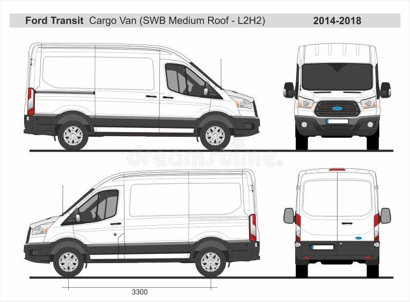 Ford Transit Cargo Van SWB medeltak L2H2 2014-2018 royaltyfri illustrationer