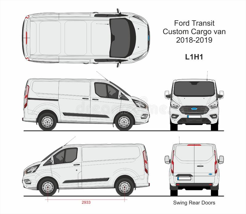 Ford Transit Custom Cargo Van L1H1 2018-2019 royaltyfri illustrationer