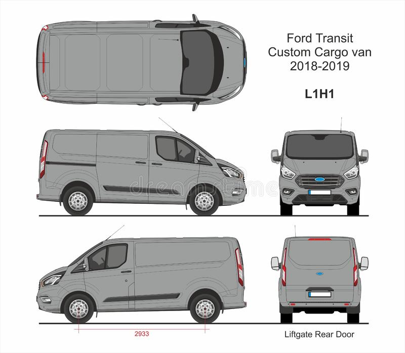 Ford Transit Custom Cargo Van L1H1 2018-2019 stock illustratie