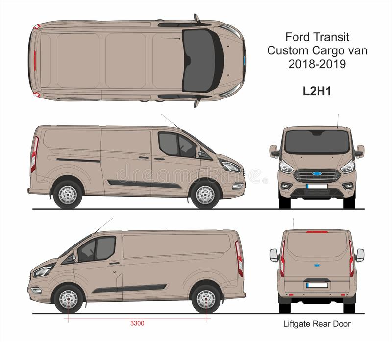 Ford Transit Custom Cargo Van L2H1 2018-2019 royaltyfri illustrationer