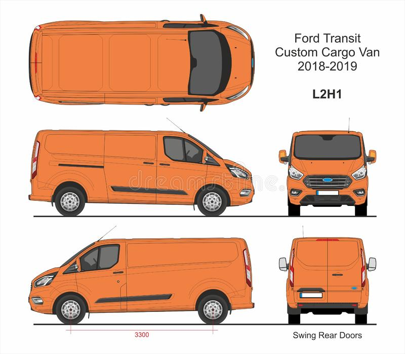 Ford Transit Custom Cargo Van L2H1 2018-2019 stock illustratie
