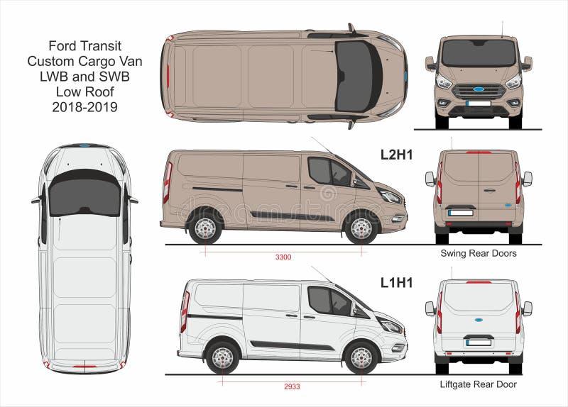 Ford Transit Custom Cargo Van L1H1 och L2H1 2018-2019 stock illustrationer