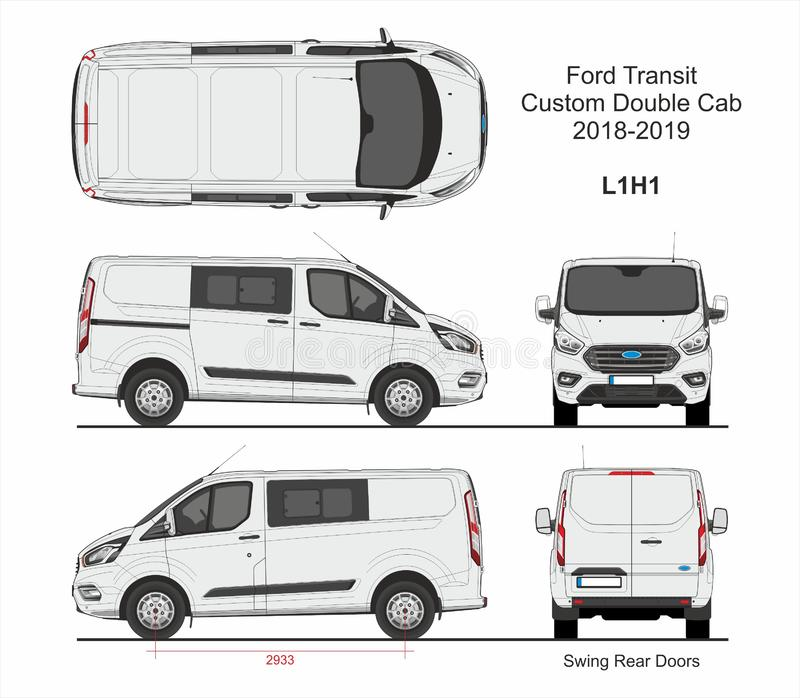 Ford Transit Custom Delivery Van L1H1 2018-2019 vektor illustrationer