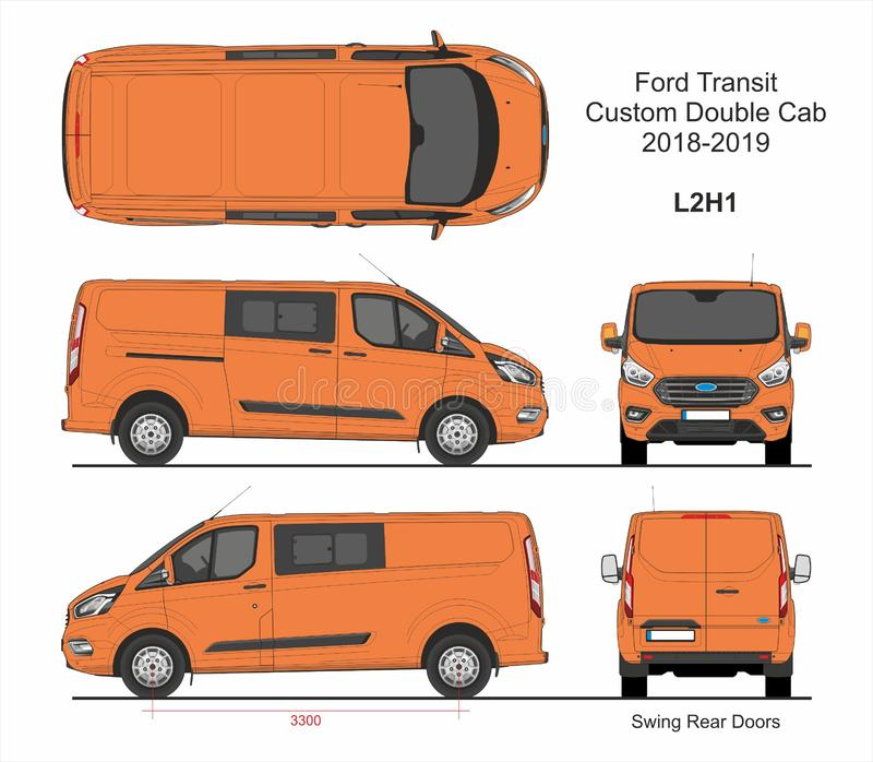 Ford Transit Custom Delivery Van L2H1 2018-2019 stock illustratie