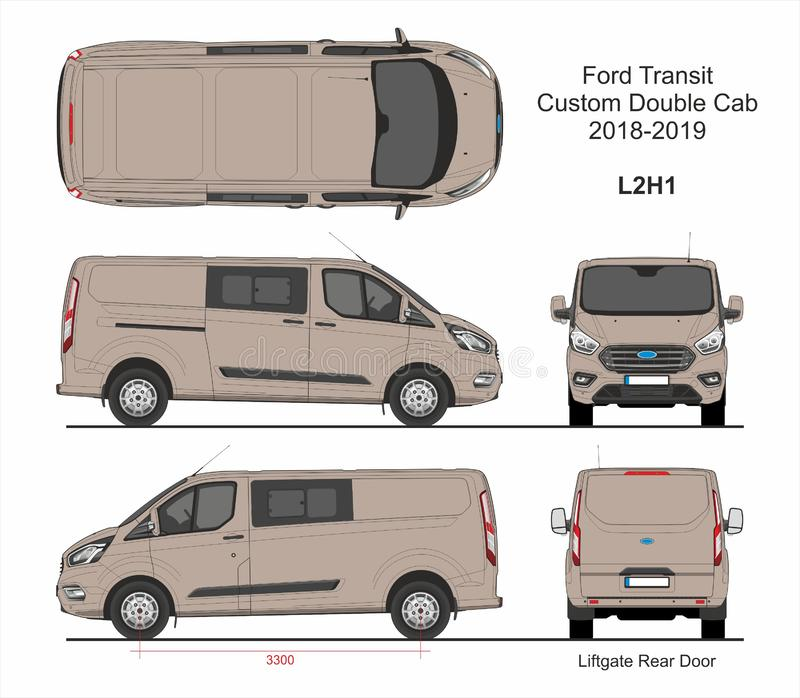 Ford Transit Custom Delivery Van L2H1 2018-2019 vektor illustrationer