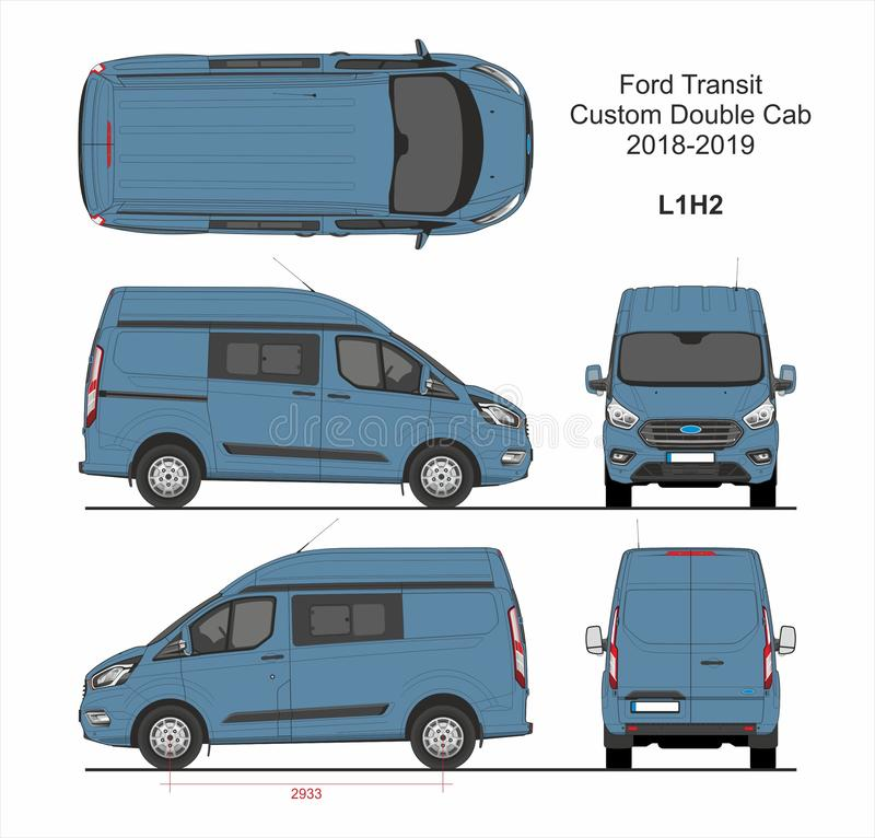 Ford Transit Custom Delivery Van L1H2 2018-2019 stock illustrationer