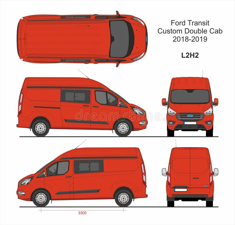 Ford Transit Custom Delivery Van L2H2 2018-2019 vektor illustrationer
