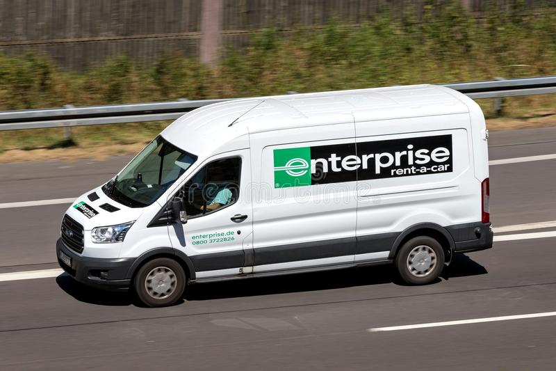 Ford Transit of Enterprise on motorway. Enterprise Rent-A-Car is an American car rental company headquartered in Clayton, Missouri, United States stock images