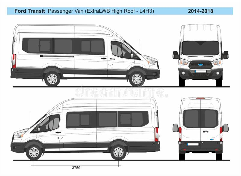 Ford Transit Passenger Van ExtraLWB högt tak L4H3 2014-2018 royaltyfri illustrationer