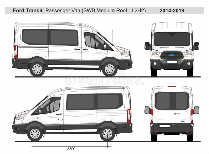 Ford Transit Passenger Van SWB medeltak L2H2 2014-2018 vektor illustrationer