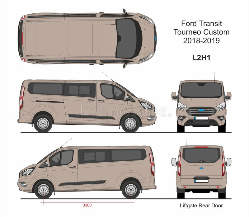 Ford Transit Tourneo Custom Van L2H1 2018-2019 stock illustratie