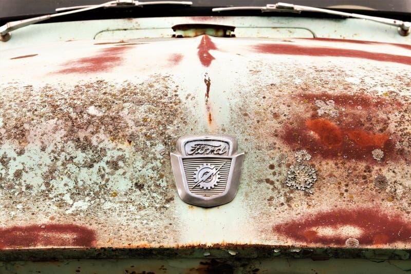 Ford Truck Badge 1956 sur Rusty Hood photographie stock libre de droits