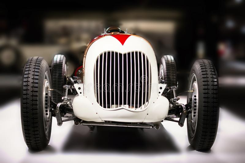 Ford V8 Monoposto Indianapolis Style of 1936 american vintage racing car front view royalty free stock photo