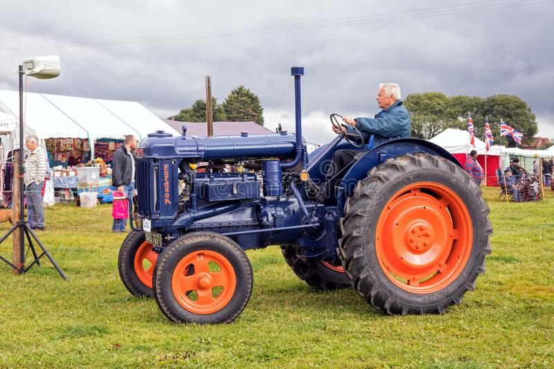 Fordson E27N Major Tractor. A 1951 Fordson E27N Major Tractor in the original colour scheme at the Stoke Prior Steam Rally in September 2017, Worcestershire royalty free stock photos