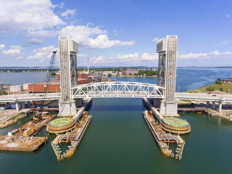 Fore River Bridge in Quincy, Massachusetts, USA. Aerial view of Weymouth Fore River and Fore River Bridge in Quincy, Massachusetts, USA. This new bridge was stock photo