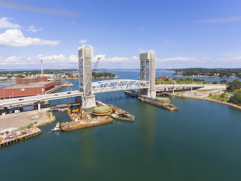 Fore River Bridge in Quincy, Massachusetts, USA. Aerial view of Weymouth Fore River and Fore River Bridge in Quincy, Massachusetts, USA. This new bridge was royalty free stock image