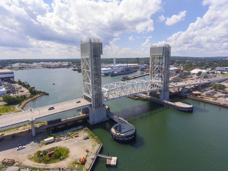 Fore River Bridge in Quincy, Massachusetts, USA. Aerial view of Weymouth Fore River and Fore River Bridge in Quincy, Massachusetts, USA. This new bridge was stock photography