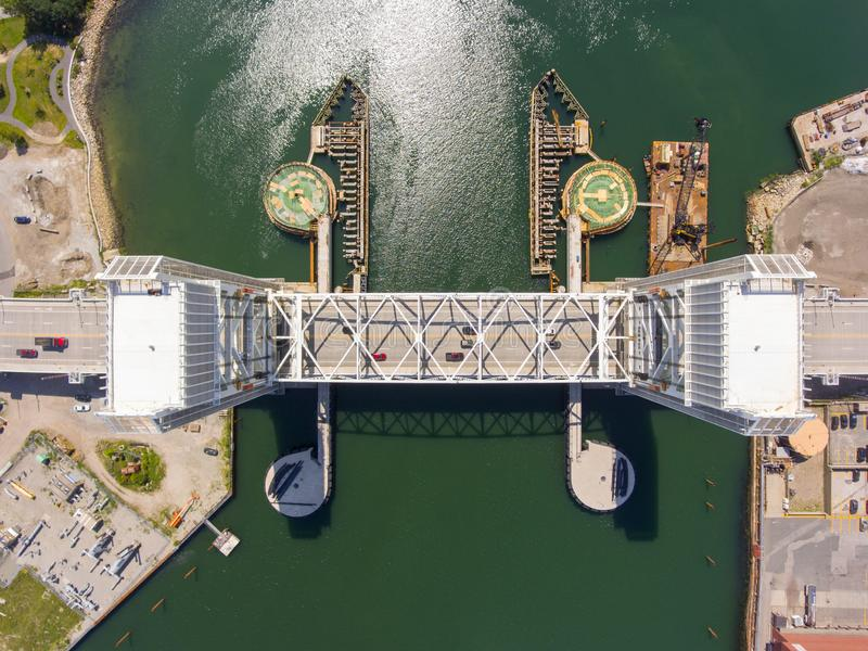 Fore River Bridge in Quincy, Massachusetts, USA. Aerial view of Weymouth Fore River and Fore River Bridge in Quincy, Massachusetts, USA. This new bridge was royalty free stock photos