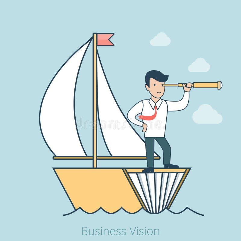 Foreca plano linear de la idea de la visión del vector del hombre de negocios stock de ilustración