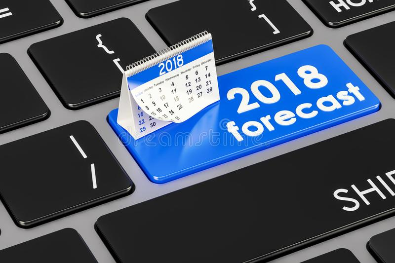 2018 forecast concept on the keyboard, 3D rendering vector illustration