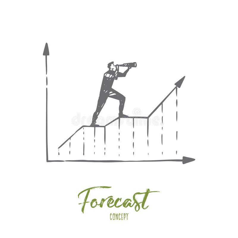 Forecast, graph, growth, progress, diagram concept. Hand drawn isolated vector. stock illustration