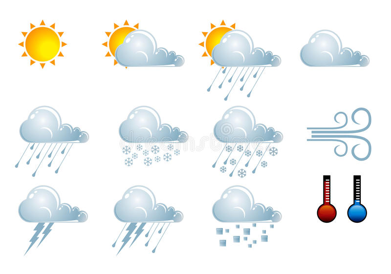 Forecast weather icons royalty free illustration