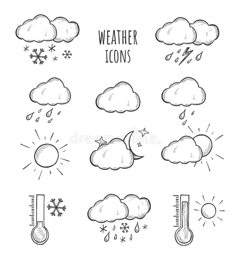 Forecast weather simple icons set vector illustration