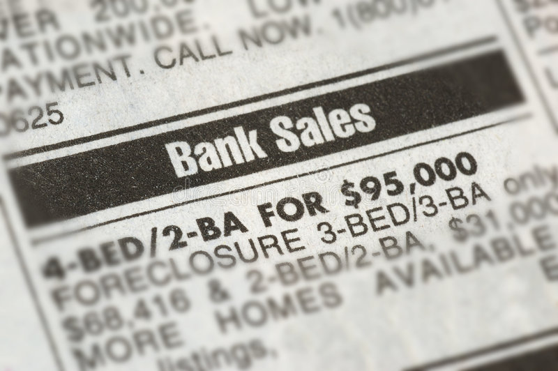Foreclosure ad. With the current economic situation, many are forced to foreclose. Bank sale foreclosure newspaper ad royalty free stock photos