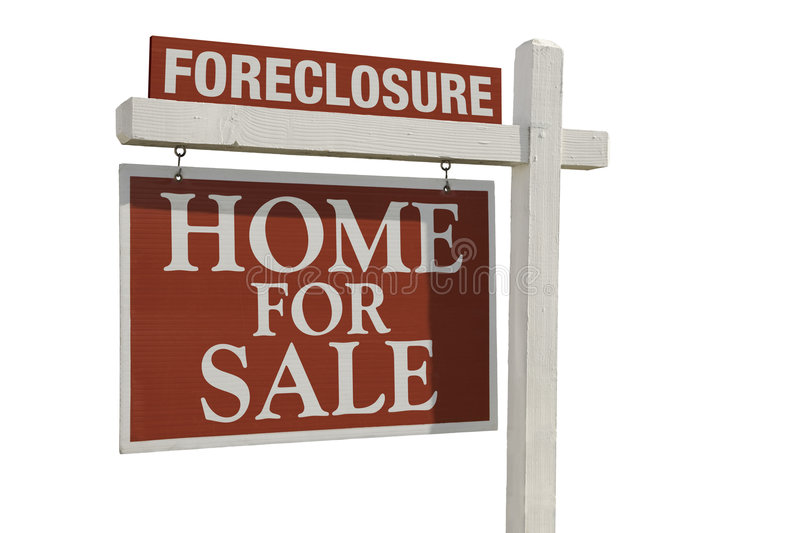 Foreclosure Home For Sale Real Estate Sign stock images