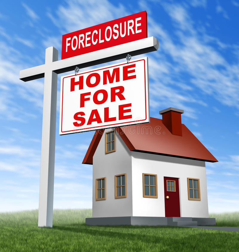 Foreclosure Home For Sale Sign And House. As a real estate business financial concept of defaulting on mortgage home loans and losing your residence to the vector illustration