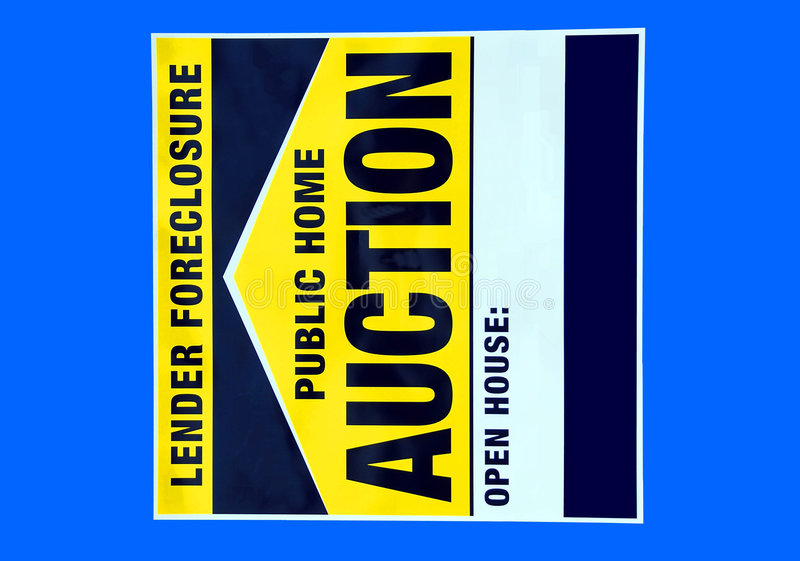 Foreclosure home sign. Foreclosure home auction sign photographed from our development in Ga royalty free illustration