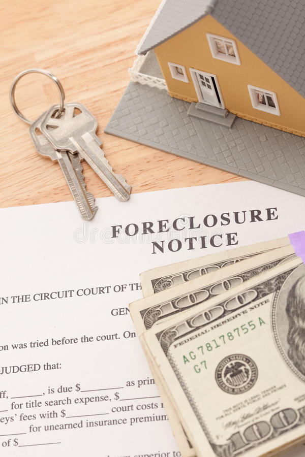 Foreclosure Notice, Home, House Keys and Money. Foreclosure Notice, Home, House Keys and Stack of Money - Cash for Keys Program royalty free stock photography