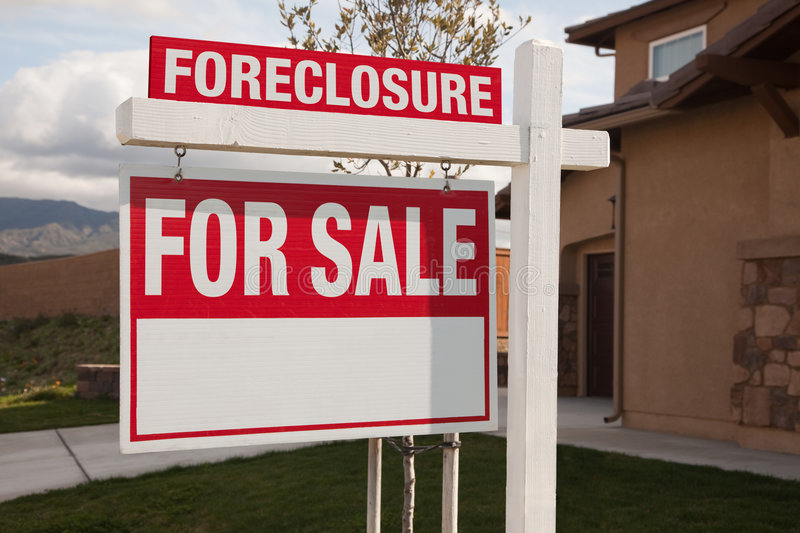 Foreclosure For Sale Real Estate Sign stock photo