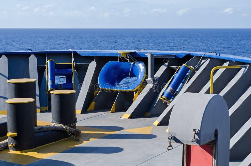 Foredeck van het schip stock foto