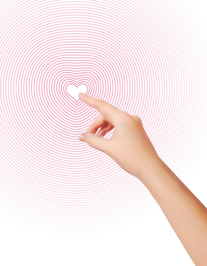 Forefinger is pressing 2d Heart. Womans wrist closeup. Silhouette of female hand. Finger pushing any screen and Waves. Diverge from Red heart point.Realistic royalty free stock image