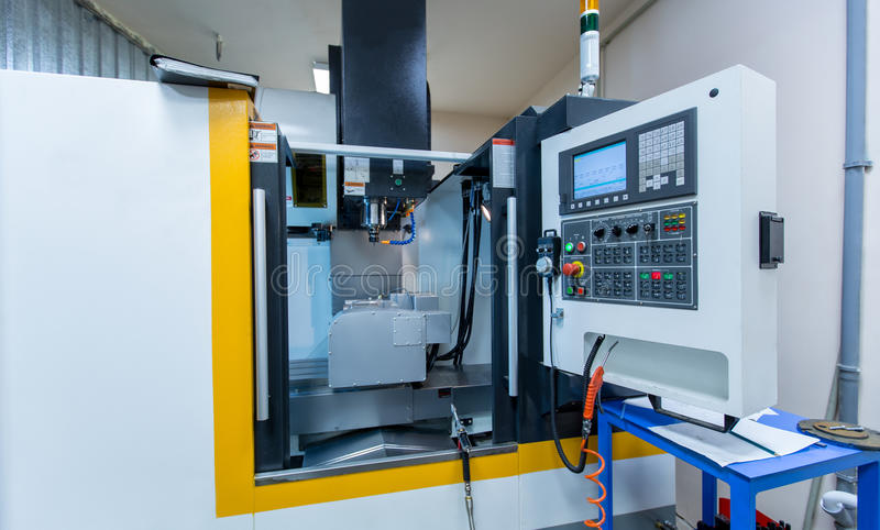 Foreground control panel of arc cutting machine royalty free stock images