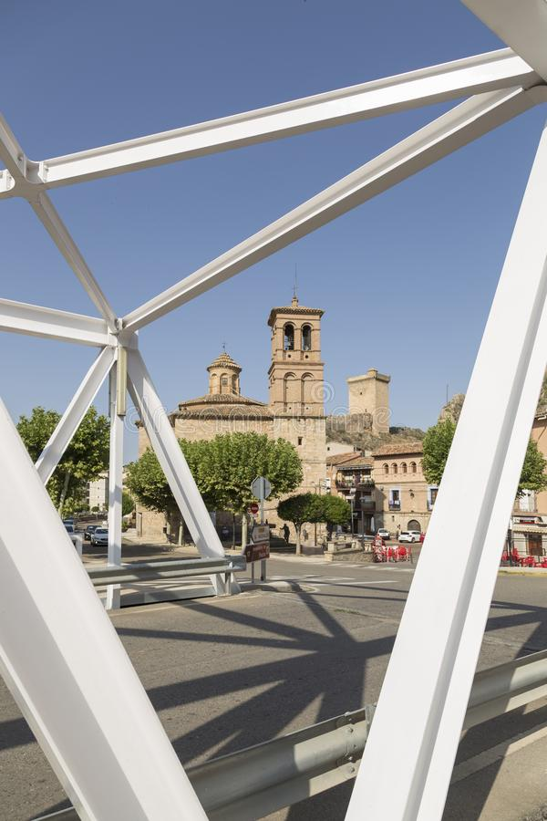 Partial view of Alhama de Aragón from the iron bridge, Zaragoza, Spain royalty free stock photos