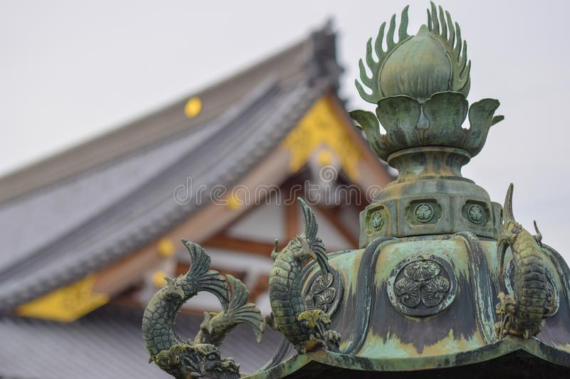 Ornamental sculpture decorated with fish stock photo