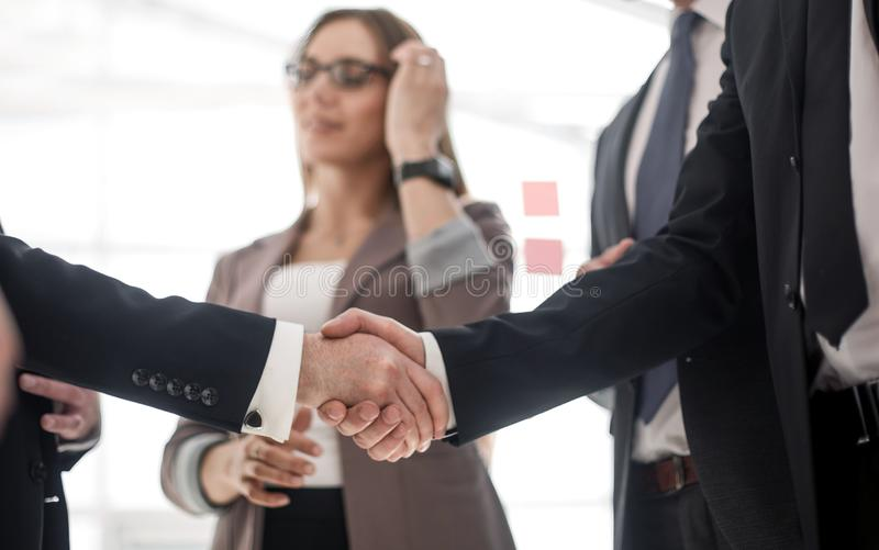 Foreground. handshake of business people stock photos