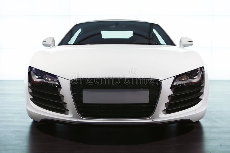 Foreground of white sportcar audi stock photography