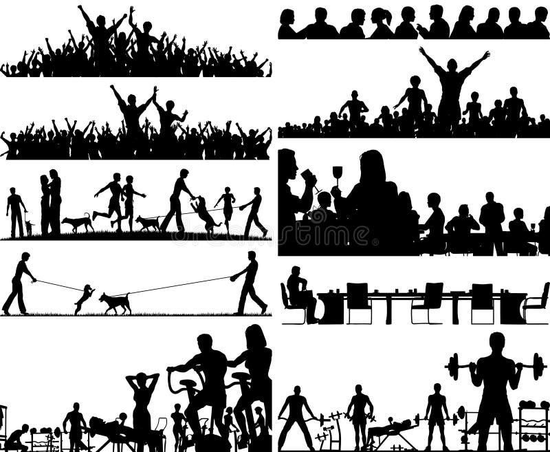 Foregrounds dos povos ilustração stock