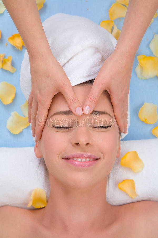 Forehead massage stock image
