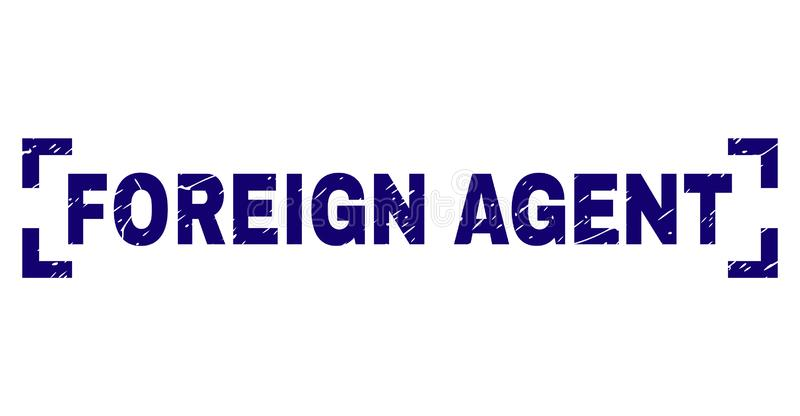 Grunge Textured FOREIGN AGENT Stamp Seal Inside Corners. FOREIGN AGENT caption seal print with grunge texture. Text label is placed inside corners. Blue vector vector illustration