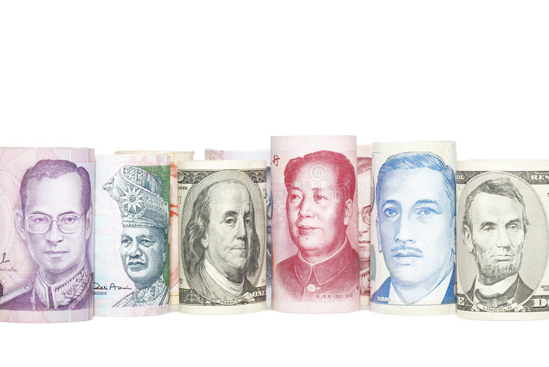 Foreign currencies stock photography